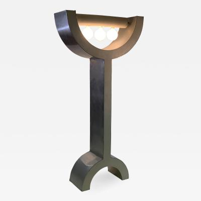 UNIQUE MODERNIST POP ART WOOD AND ALUMINUM FLOOR LAMP