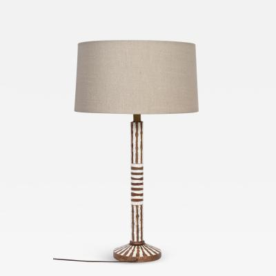 Ugo Zacagnini Tall Ugo Zacagnini Hand Painted Brown and White Stripe Table Lamp circa 1960
