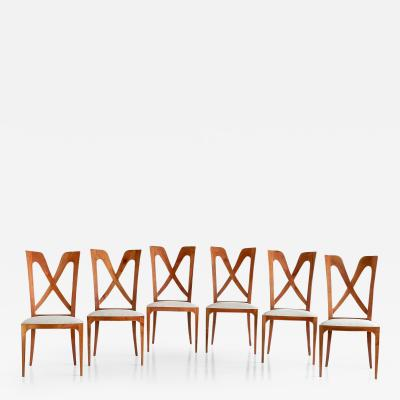 Ulderico Carlo Forni Set of Six Ulderico Carlo Forni Dining Chairs in Cherry Wood Italy 1940s