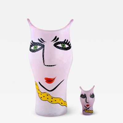 Ulrica Hydman Vallien Two hand painted vases in mouth blown art glass decorated with womens faces