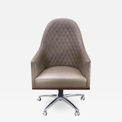 Umberto Asnago Leather Swivel Desk Chair by Umberto Asnago for Medea Mobiledia Italy