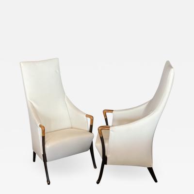 Umberto Asnago Set 4 Italian Modern Walnut Ebonized Club Chairs Umberto Asnago for Giorgetti