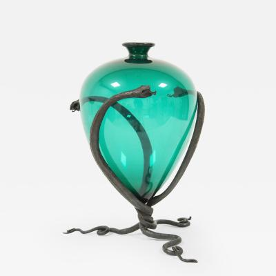 Umberto Bellotto Umberto Bellotto Snake Vase in green glass and wrought iron circa 1920