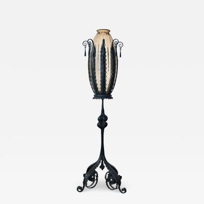 Umberto Bellotto Vase in Wrought iron Stand