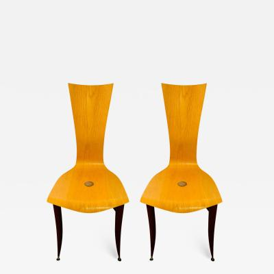 Umberto Mascagni Italian MCM Wooden Chair in the Manner of Umberto Mascagni a Pair