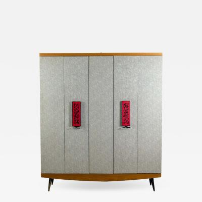 Umberto Mascagni Midcentury Italian Entrance Wardrobe with Mirror by Umberto Mascagni