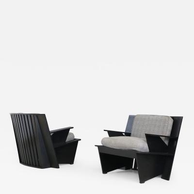 Umberto Riva Pair of MidCentury Armchairs by Umberto Riva Mod Arighi for Poltronova 1986