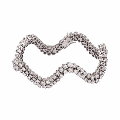 Undulating Diamond and White Gold Bracelet