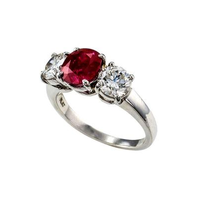 Unheated Burma Ruby and Diamond Three Stone Ring
