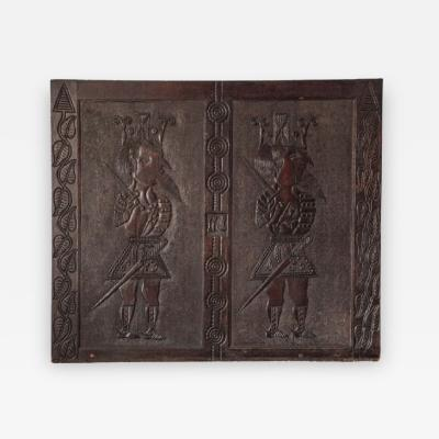 Unique 18th Century English Carved Panel of Two Kings