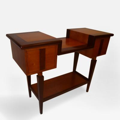 Unique Architectural Mixed Woods Console Table 1950s