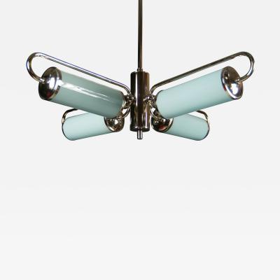 Unique Bauhaus Chandelier with Blue Shades 1930s