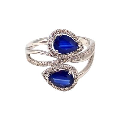 Unique Blue Sapphire Diamond Crossing Ring 14KT White Gold