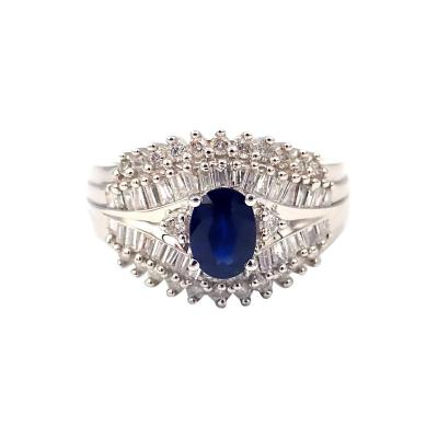 Unique Blue Sapphire Diamond Ring 14KT White Gold