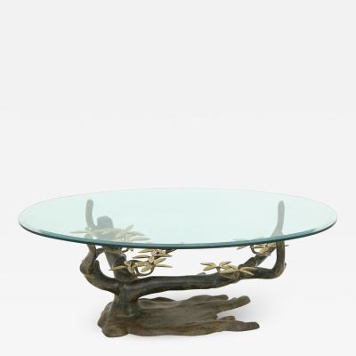 Unique Bronze Tree Flower Base Coffee Table