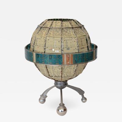 Unique Circuit Board Globe Table Lamp Artist Signed