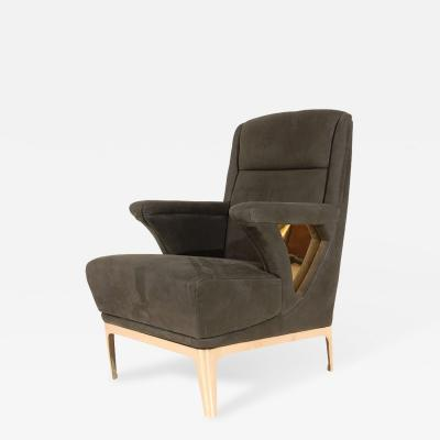 Unique Club Chair with Bronze Base Cutouts