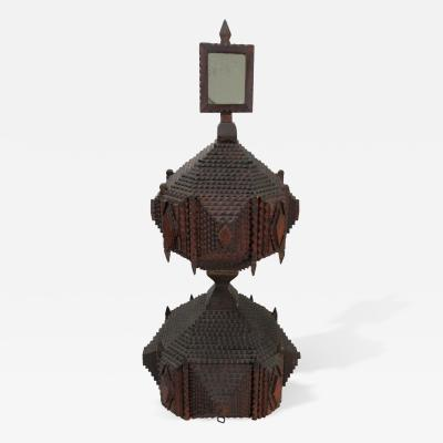Unique Hour Glass Form Tramp Art Dressing Table Box