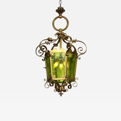 Unique Large Bronze Lantern With Green Glass