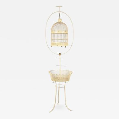 Unique Metal Bird Cage on Stand Italy 1950