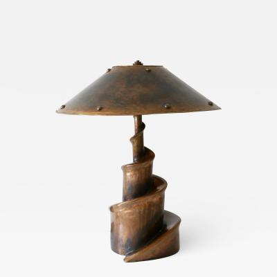 Unique Monumental Brutalist Bronze Table Lamp or Floor Light Germany 1980s