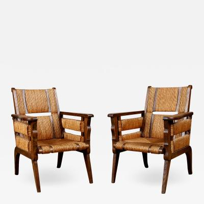 Unique Pair of French 1950s Oak Armchairs with Woven Seat and Back