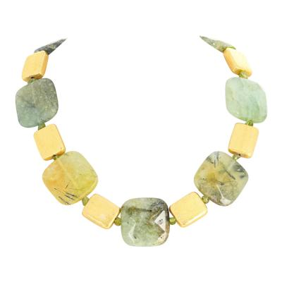 Unique Prehnite Peridot and Goldy 18 Necklace