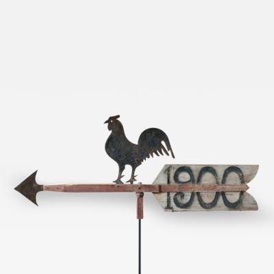 Unique Rooster on Arrow Weathervane Iowa 1900