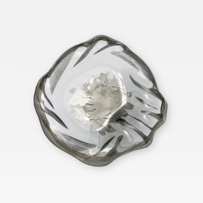 Unique Sculptural Art Glass Low Bowl with Silver Details
