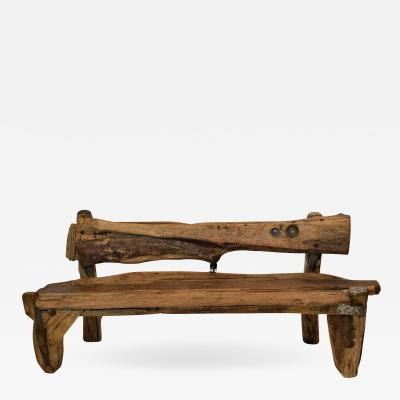 Unique Sculptural Folk Art Weathered Wood Bench Reclaimed Found Objects Studio