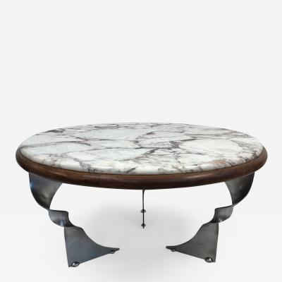 Unique Steel Base and Marble Top Coffee Table