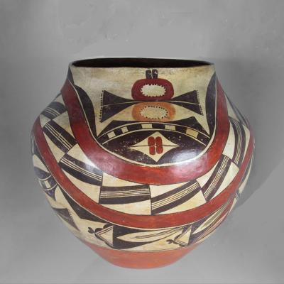 Unknown Artist Acoma Four Color Jar with Rainbow Bands