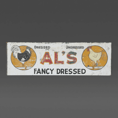 Unknown Artist Als Chickens Dressed and Undressed Sign