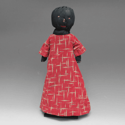 Unknown Artist Black Cloth Doll with Red Dress