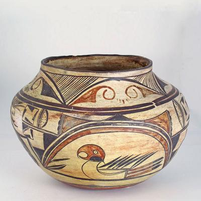 Unknown Artist Hopi Polacca polychrome pictorial jar