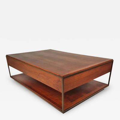 Unknown Unknown Custom 1960s Architectural Bronze and Oiled Walnut Cocktail Table