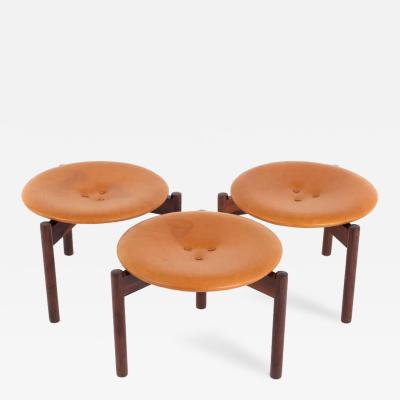 Uno Osten Kristiansson Uno sten Kristiansson Set of Three Rosewood and Leather Stools