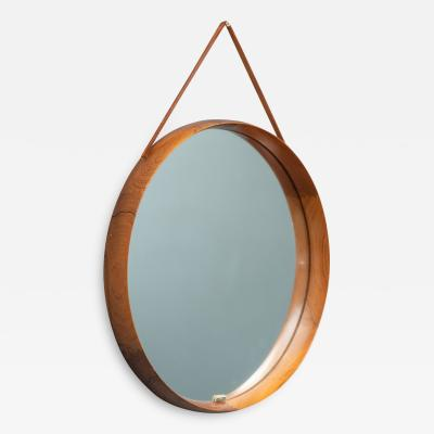 Uno Osten Kristiansson Uno sten Kristiansson Wall Mirror in Teak and Leather