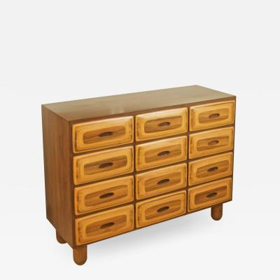Unusual 12 Drawer Mixed Wood Dresser