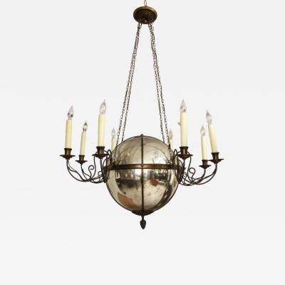 Unusual Antique Eight Light Brass and Mercury Glass Chandelier