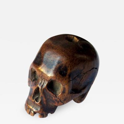 Unusual Antique Japanese Boxwood Skull Ojime