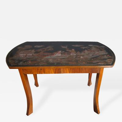 Unusual Austrian Secessionist Walnut Veneered Table with Chinoiserie Top