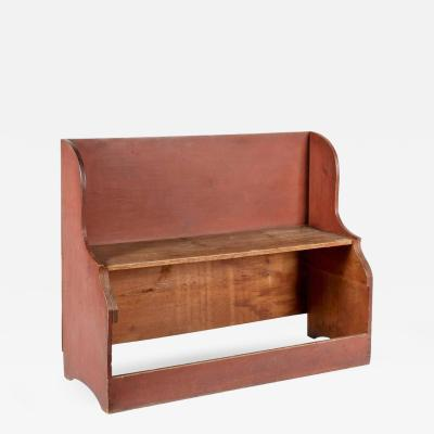 Unusual Deacons Bench Bucket Bench in Dry Salmon Red Paint