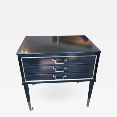 Unusual French Directoire Style Ebonized End Table with Pull Out Drawers