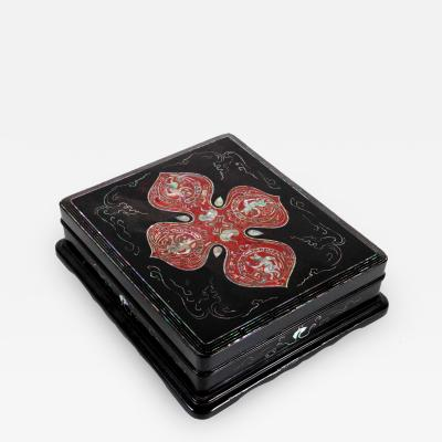 Unusual Japanese Lacquer Inkstone Box with MOP Inlays