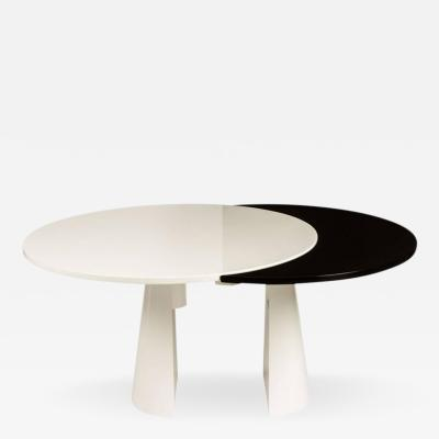 Unusual Lacquered Italian Dining Table with Pullout Top
