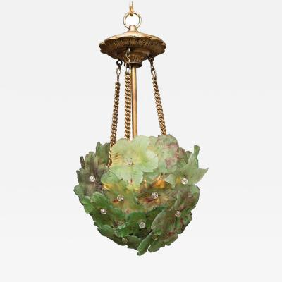 Unusual Light Pendant with Green Glass Florets