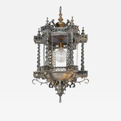 Unusual Pagoda style toleware bronze hanging lantern