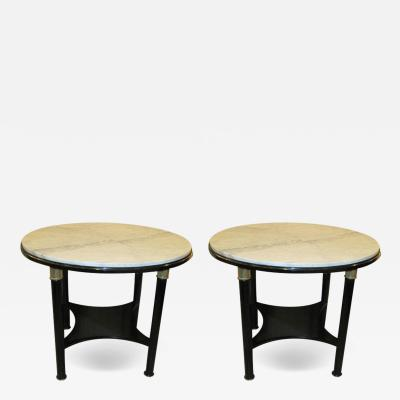 Unusual Pair Ebonized French 1940s 1950s Marble Top Tables