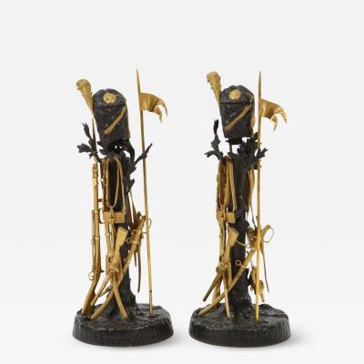 Unusual Pair of French Ormolu and Patinated Bronze Military Candlesticks